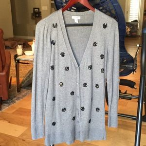 Old Navy Embellished Grey Cardigan Sweater Small